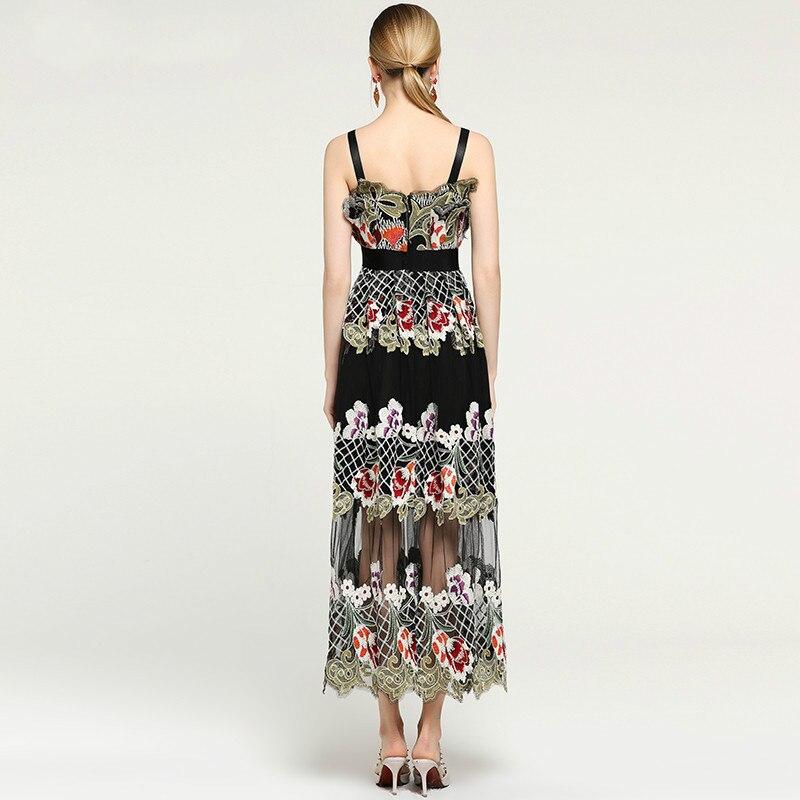 Broderie Élégant Longue Noir Pour D'été Parti De Femmes Maille Maxi Goodlishowsi Robes Femme Robe 0q86S6
