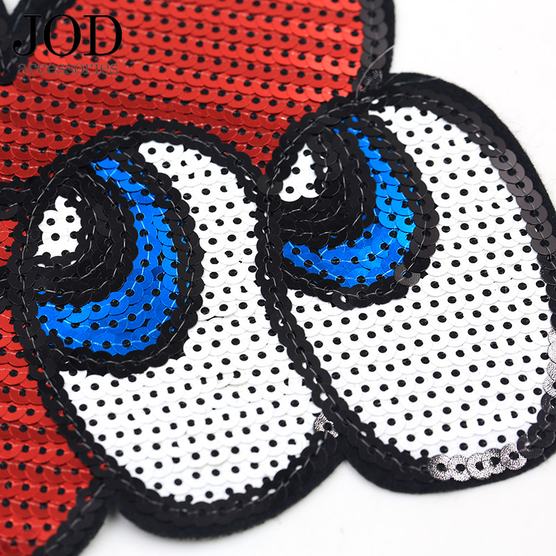 JOD Cartoon Red Sequin Heart Patch Brand Stickers for Clothes Patches Embroidered Iron on Bag Badge Children Applique Jacket in Patches from Home Garden