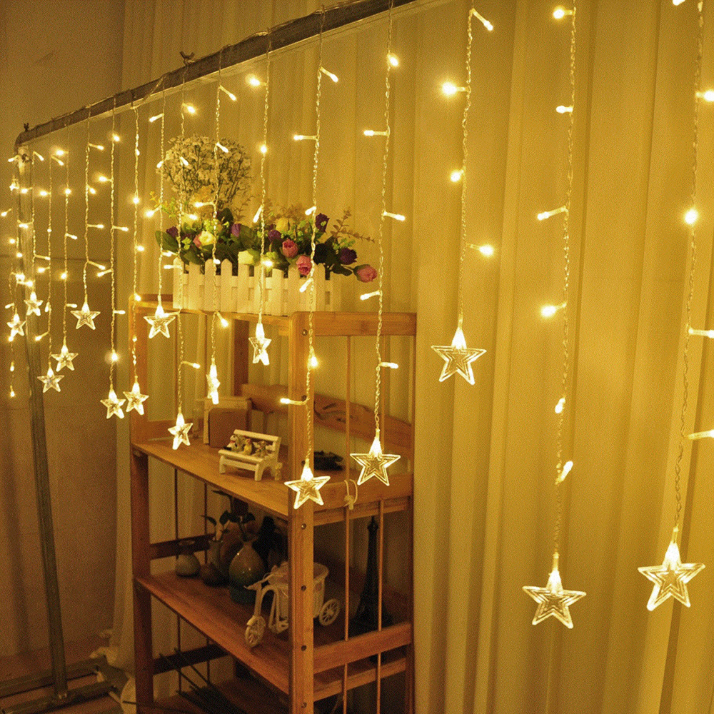 Trecaan 3.5M Five-Pointed Star String Curtain Lights Fairy Xmas Wedding Birthday Holiday Room Decoration