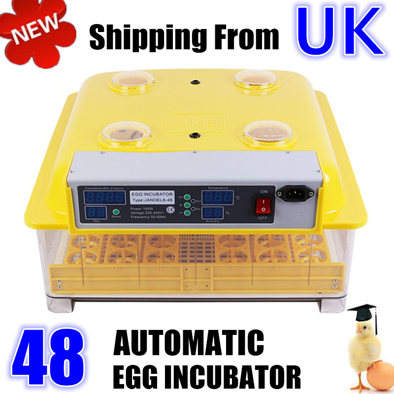 48 Digital Egg Incubator Hatcher Temperature Control Automatic Turning Chicken Duck Bird Hatching Machine 1pc lot 48 eggs digital clear egg incubator hatcher automatic turning temperature control janoel8 48