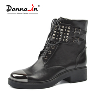 Donna in Martin Punk Boots Women Genuine Leather Ankle Boots Square Heel Round Toe Lace Up Metal Fashion Black Botas Ladies Shoe