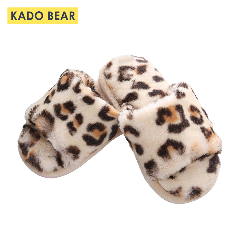 Children Leopard Print Fur Plush Indoor Slippers Baby Girl
