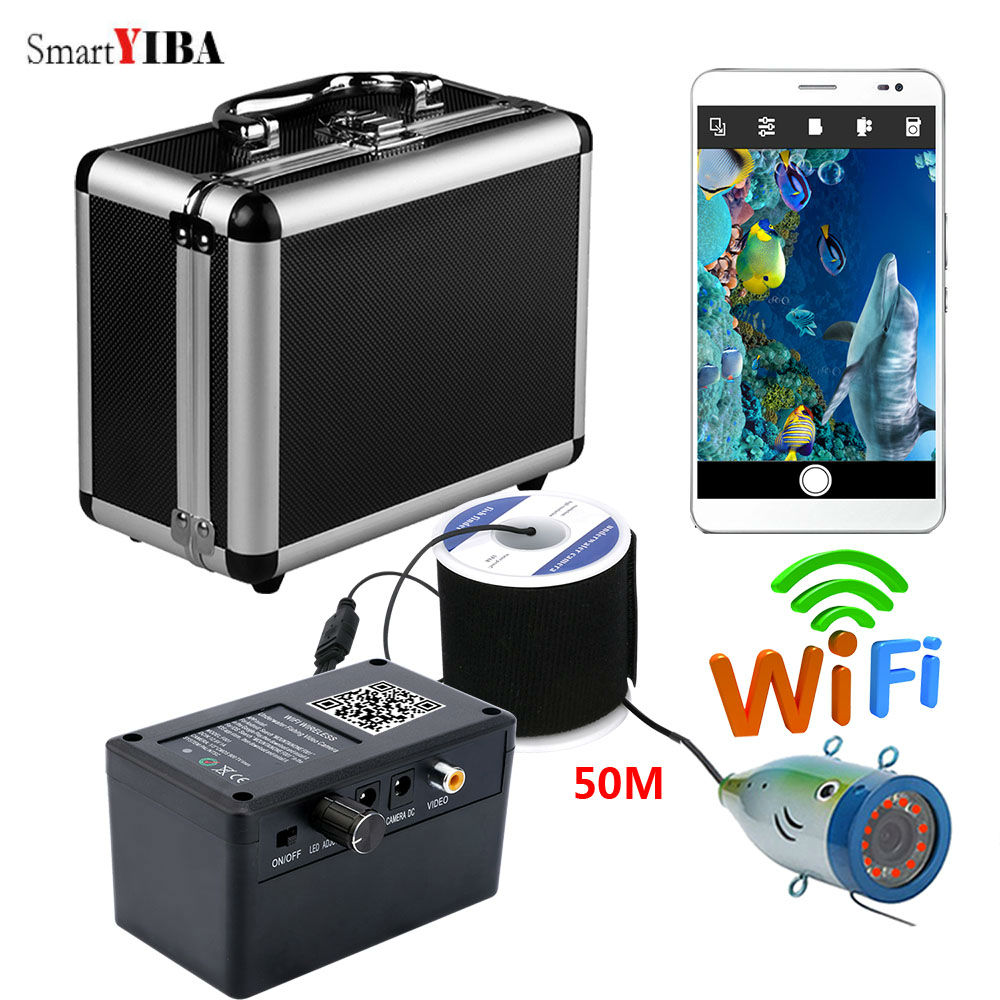 SmartYIBA 50M WIFI APP Visible Fish Finder Camera 1000TVL Fishcam 12 LED Infrared Lamp Lights Waterproof Sea/Lake Fishing CameraSmartYIBA 50M WIFI APP Visible Fish Finder Camera 1000TVL Fishcam 12 LED Infrared Lamp Lights Waterproof Sea/Lake Fishing Camera