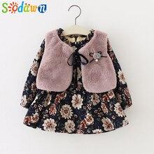 Sodawn/ г. Осенне-зимняя одежда для маленьких девочек вельветовое платье с длинными рукавами и цветочным рисунком Модный меховой жилет 2 шт., одежда для детей