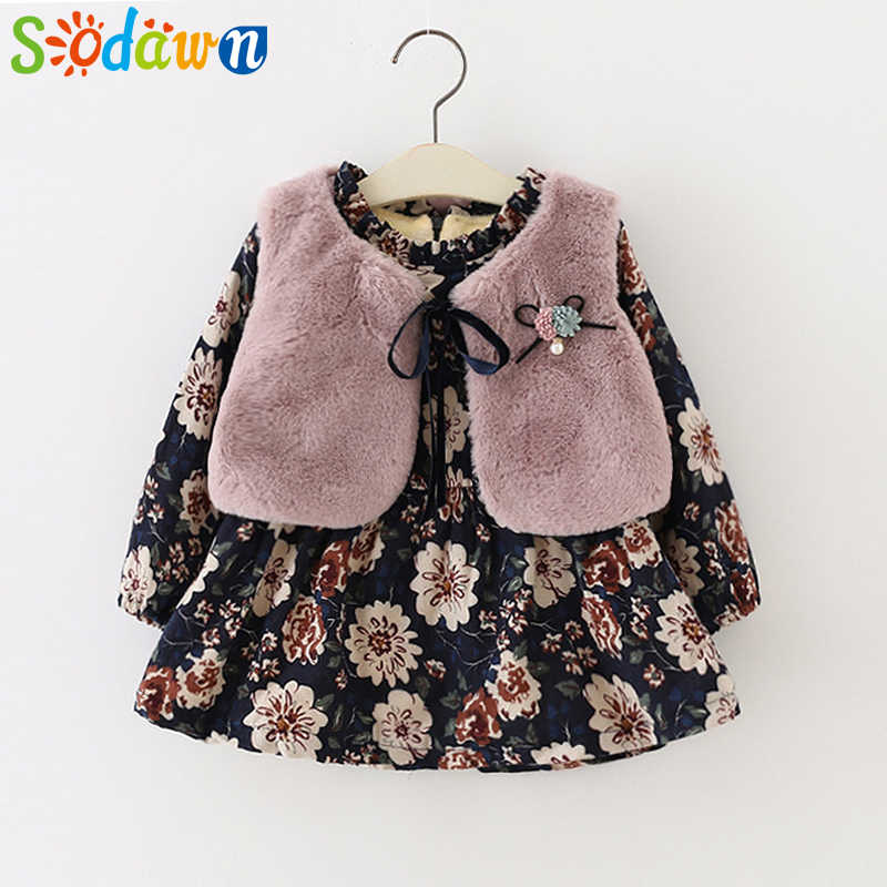 Sodawn 2019 Autumn Winter Baby Girls Clothing Long-Sleeved Floral And Velvet Dress Fashion Fur Vest 2pcs Children Clothing