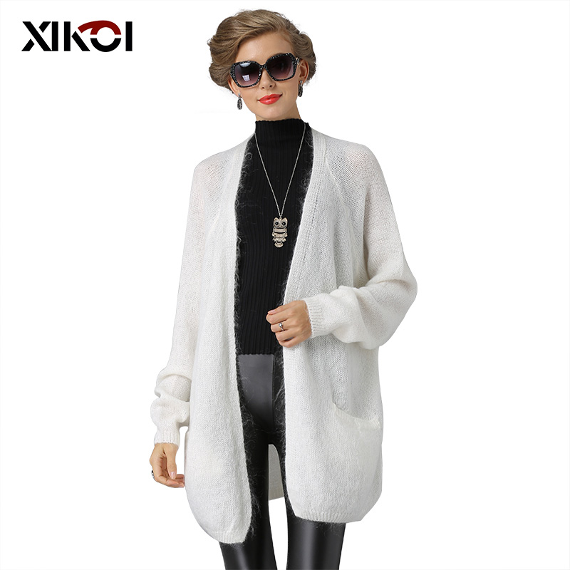XIKOI Women Sweaters Fashion Casual Wool Cardigans Woman Sweaters Solid Thick Winter Knitted Long Sweater Coat