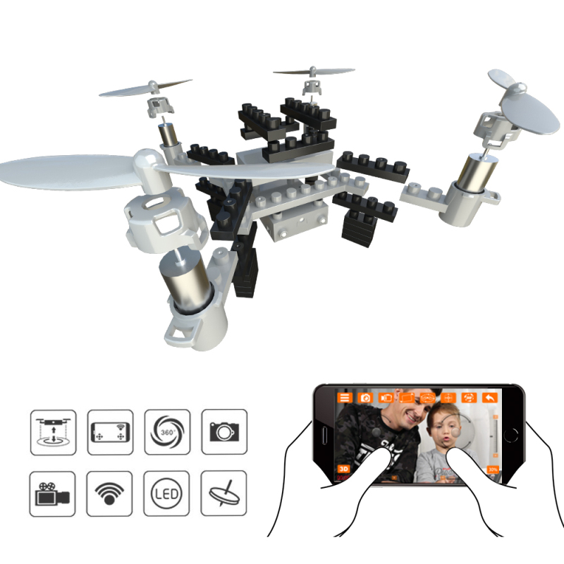 mini Building Blocks drone M3 902S RC Quadcopter with 0.3MP FPV WiFi Camera Drone Assembled block educational toy For Child Gift