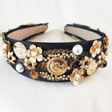 Hair Accessories 2017 New Women Gold Round Pearl Flower Headband Hairband Fashion Metal Gold Hair Jewelry