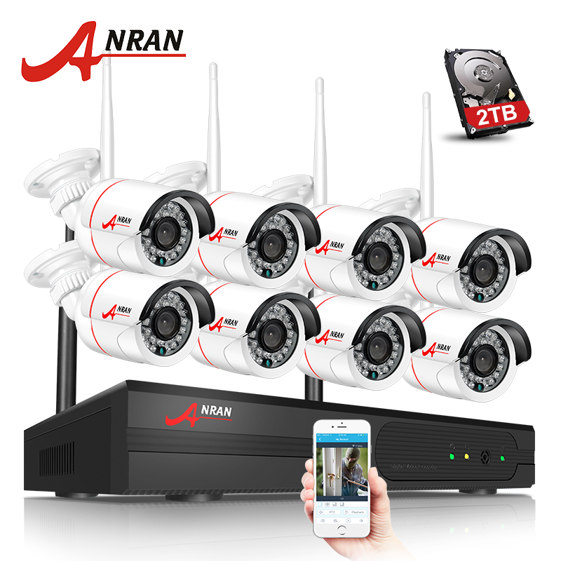 ANRAN Plug And Play 8CH Wireless NVR Surveillance Kit P2P 720P HD Outdoor IR Night Vision Security IP Camera WIFI CCTV System plug and play 4ch 960p wifi nvr kit wireless cctv onvif ip camera system outdoor ir night vision security surveillance for home