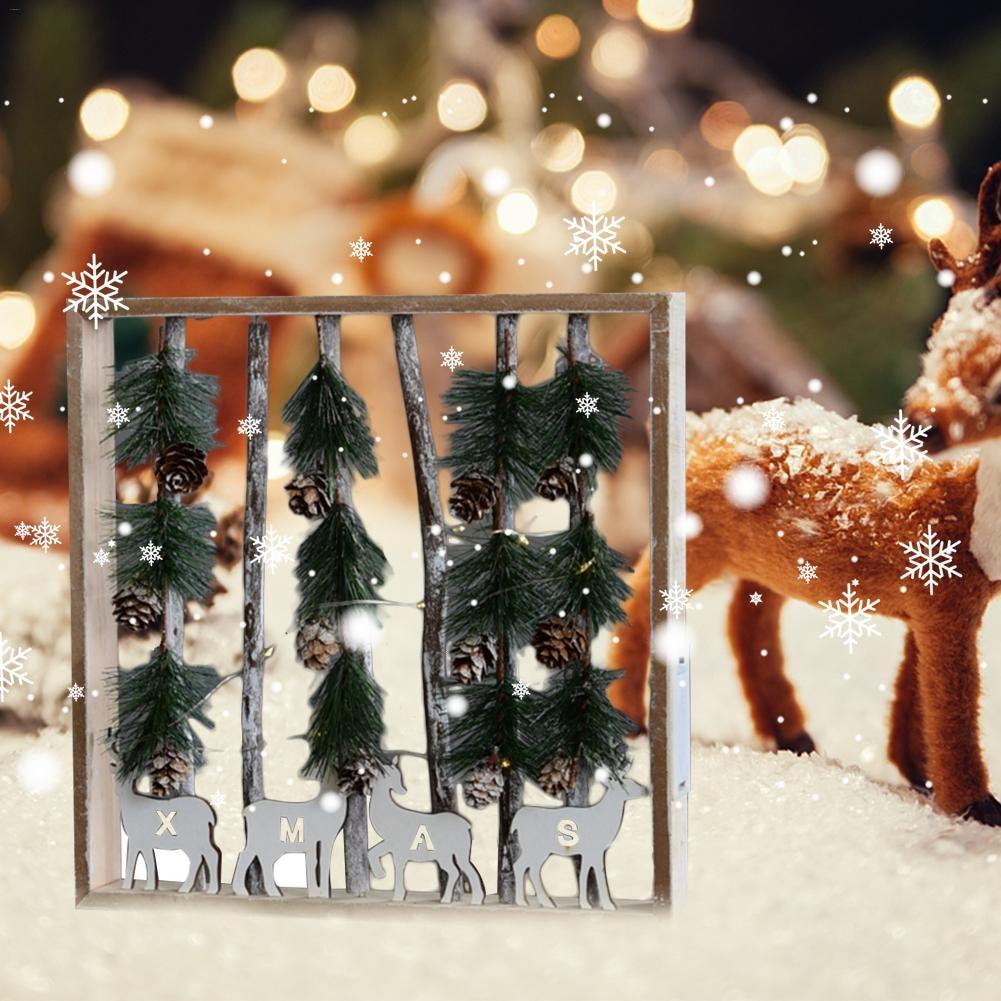 2018 New Year Christmas Led Luminous Cabins Pendant Table Pendant Ornaments Christmas Decoration For Home Enfeite De Natal
