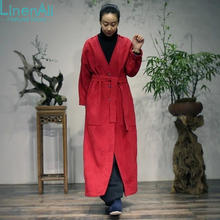 100% cotton clothing women  high quality cotton jacquard Chinese red V-neck hand-stitching loose big coat outerwear LinenAll GSH