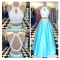 Ice Blue Prom Dress Luxuriant Pearls Two Pieces Prom Dresses with Sexy Keyhole Back Vestidos De Festas 2017
