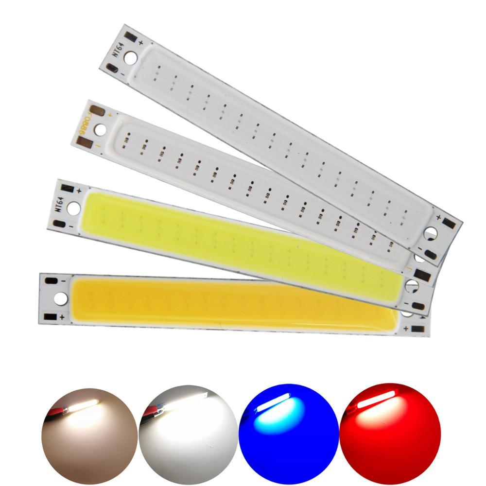 Купить с кэшбэком 10pcs/lot 60x8mm 3W 3V 3.7V 1000mA 300LM DC LED COB Strip Warm White Blue Red COB LED light module for DIY Bicycle work lamp