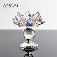 Crystal Glass Lotus Flower Candle Holders Feng Shui Wedding Columns Candelabra Centerpieces Holder Home Decor Bowl