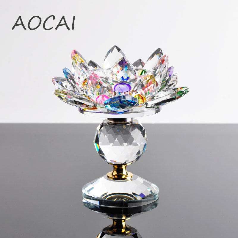 Crystal glass lotus flower candle holders feng shui