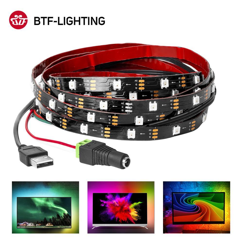 Ambilight Kit USB LED Strip Backlight DC5V HDTV Monitor PC Screen Background Light WS2812B RGB Dream Color Pixel Ribbon 1M 2M 3M