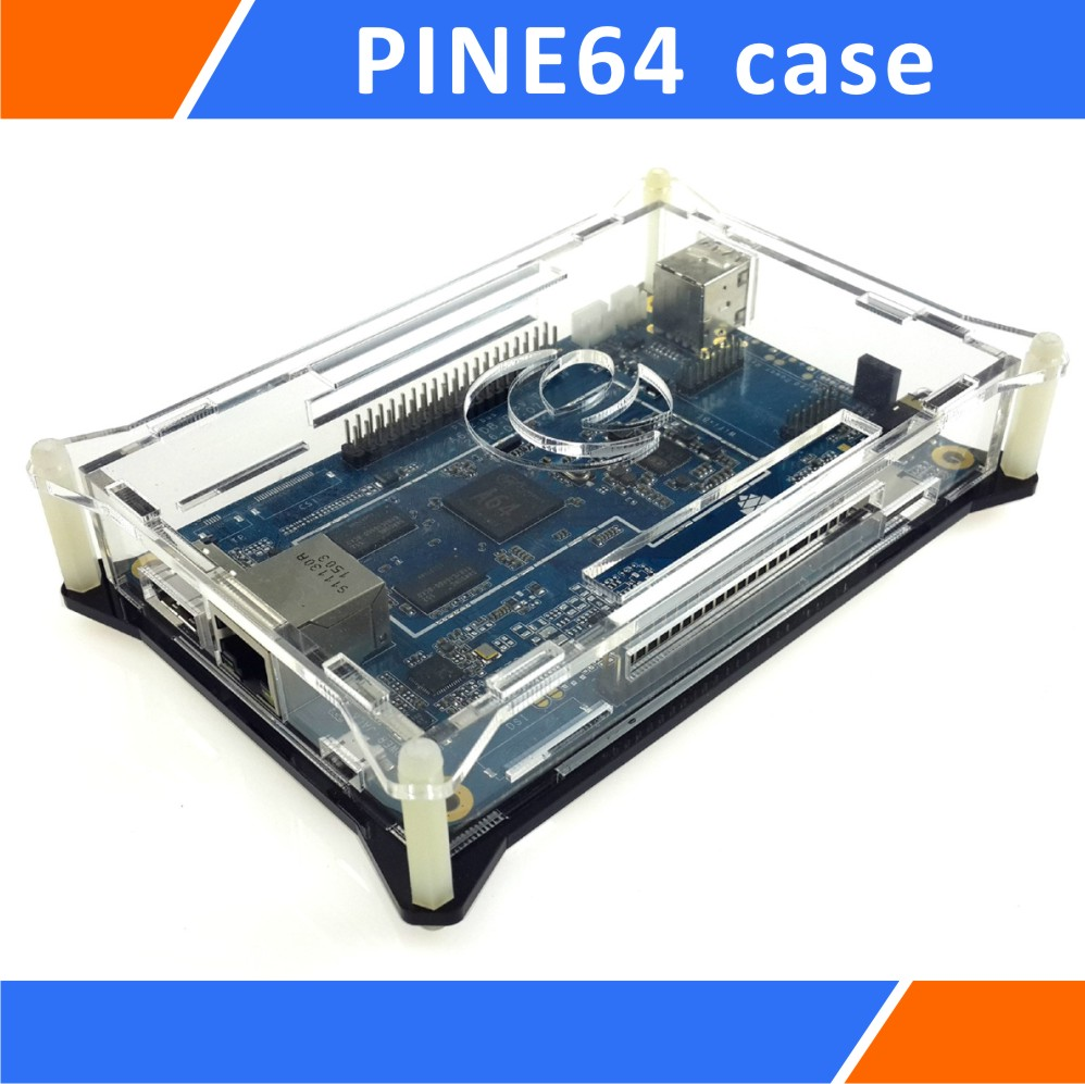 Transparent Enclosure Case Compatible For PINE64/64 Plus Black