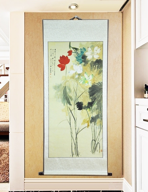 Large Scroll Painting by Numbers / Famous Lotus flower Unique Gifts ...