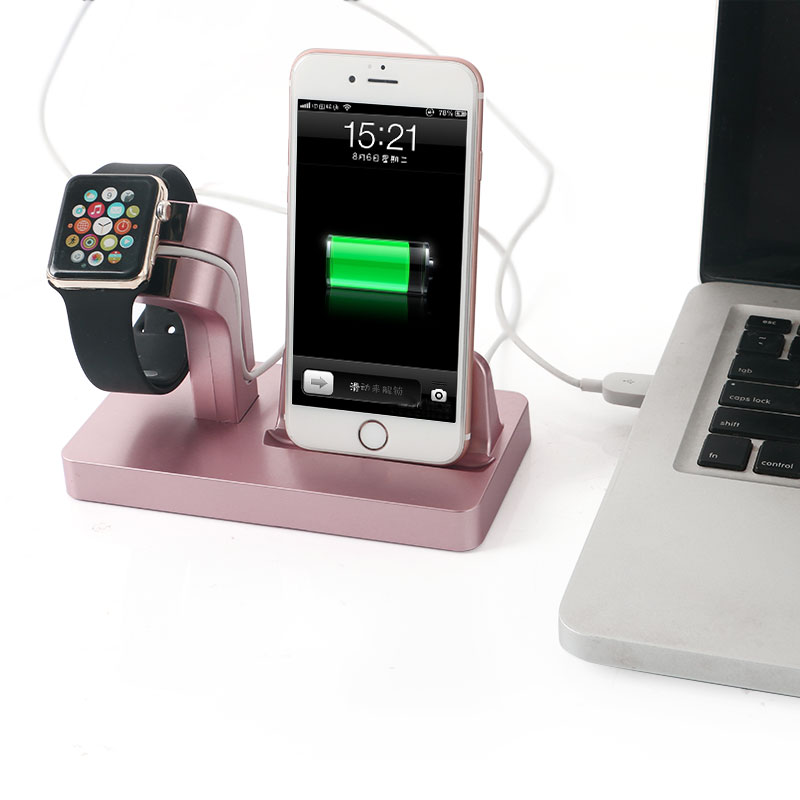 imágenes para Metálica Soporte de PC para el iphone 6 S Plus 6 5S 5 de Carga Estación del muelle Cuna para Apple Reloj 38mm 42mm de Escritorio de Carga soporte