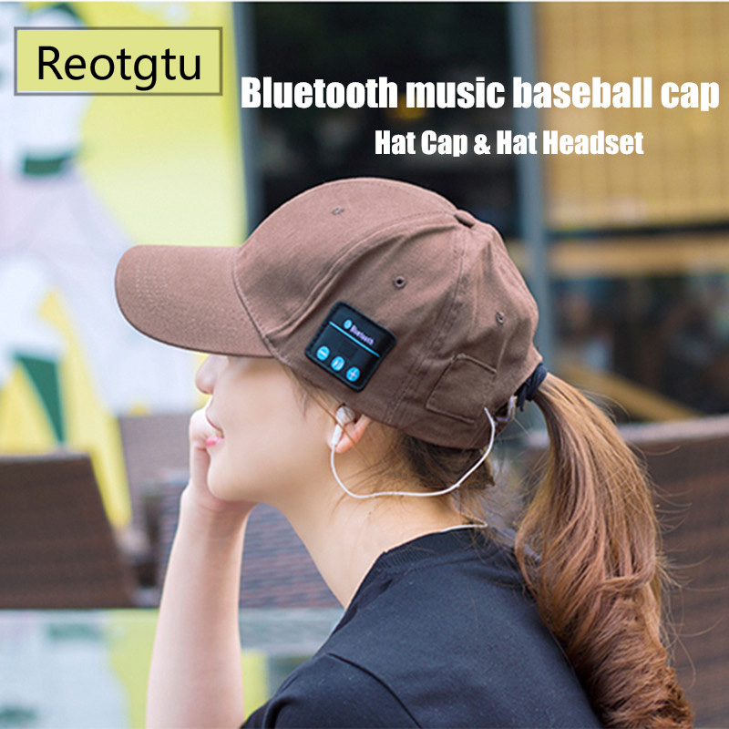 REOTGTU 2018 Bluetooth Hat Cap Hat Headset Earphone with Mic Hand-free Music Mp3 Sport Smart Cap Baseball Cap Headset Sports Hat