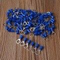 100 unids Cable de Vinilo Crimp Conector 14-16 AWG Terminales de Anillo de Metal Azul