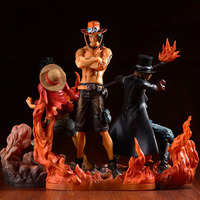 3pcs/set Anime Action Figure One Piece Brotherhood II Portgas D Ace Sabo Monkey D Luffy Brother Fighting Ver PVC 14~17cm Doll