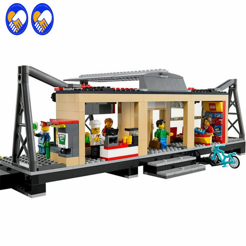 A Toy A Dream Lepin 02015 456pcs City Series Train Station Building Block Compatible 60050 Brick Toy тостер tefal tt330d30 8000035883