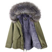 2017 Winter Women High Quality Luxury Faux Fur Lining Coat Famale Warm Thick Large Real Raccoon Dog Fur Parka Hooded Outwear
