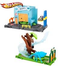 Original Hot Wheels City Nemesis Attack Beast Scene Set Crocodile Series Garage Metal Car Gator Toy Track Building FNB06