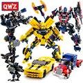 Qwz movie series bumblebee building blocks figuras modelo juguetes educativos niños robot 2 en 1 del coche del vehículo diy montado ladrillos