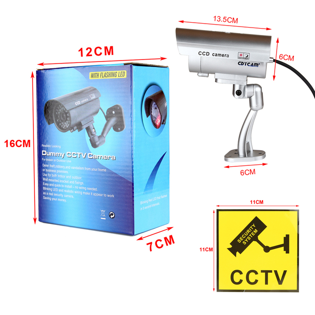 Cdycam Fake Dummy Camera Bullet Waterproof Outdoor Indoor Security CCTV Surveillance Camera With Flashing Red LED Free Shipping