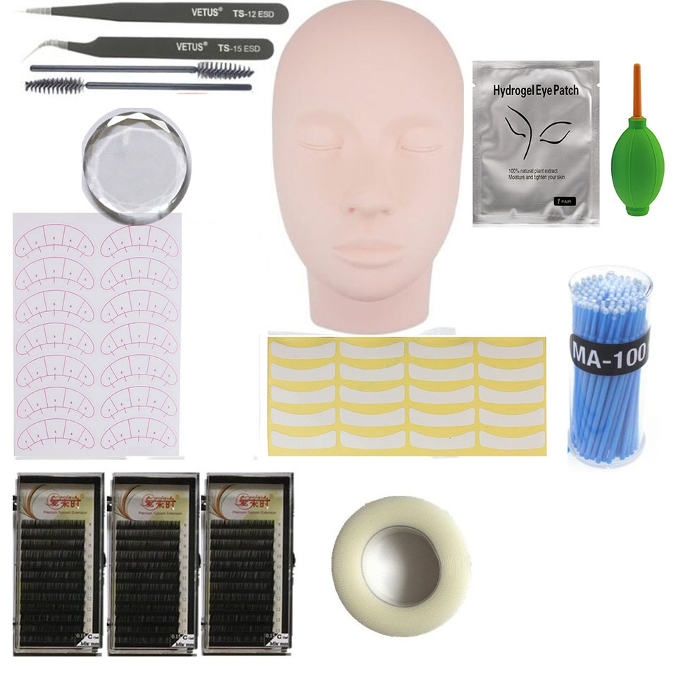 1 Set Eyelashes Extension Kit For Beginner Practicing Grafting Eyelash Extensions Sets Practing Tools With Flat Mannequin Head