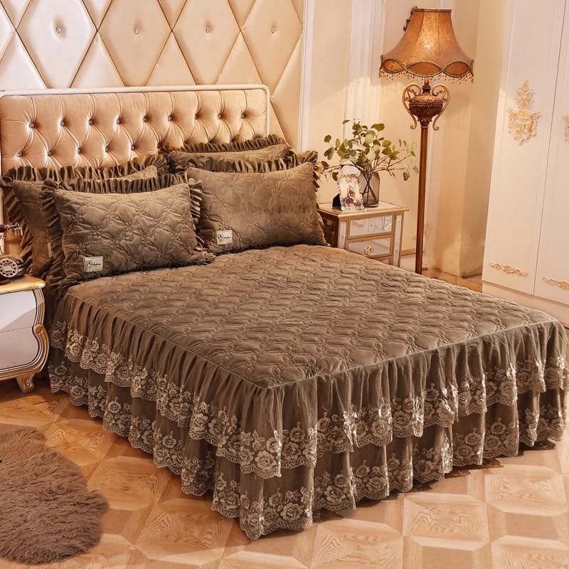 3/5-Pieces 160X200cm Luxury Brown Blue Ruffel Lace Plush Bedskirt Warm Bedding Set Bed Cover Set Bedspread Set Pillow Shams