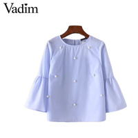 Women Elegant Pearls Beading Flare Sleeve Shirt O Neck Blouse Three Quarter Sleeve Summer Brand Casual