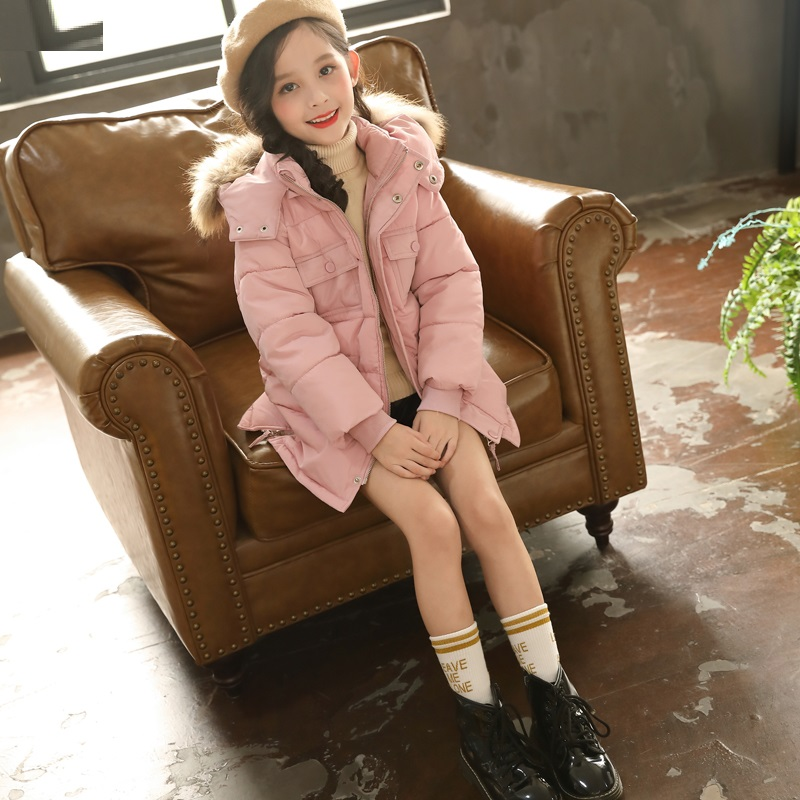 New Children Down Cotton Jackets Girl winter Fur Collar Hooded Warm Jacket Girls With Pocket Thickening Cotton Outerwear & Coats hot sale 2017 new comes women coats down cotton jackets winter jacket fur collar hooded coat long sleeve jacket outerwear for