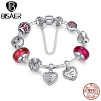 100 925 Sterling Silver Exclusive Heart Glass Beads Clearly CZ Friend Friendship Bracelet Authentic Original Jewelry