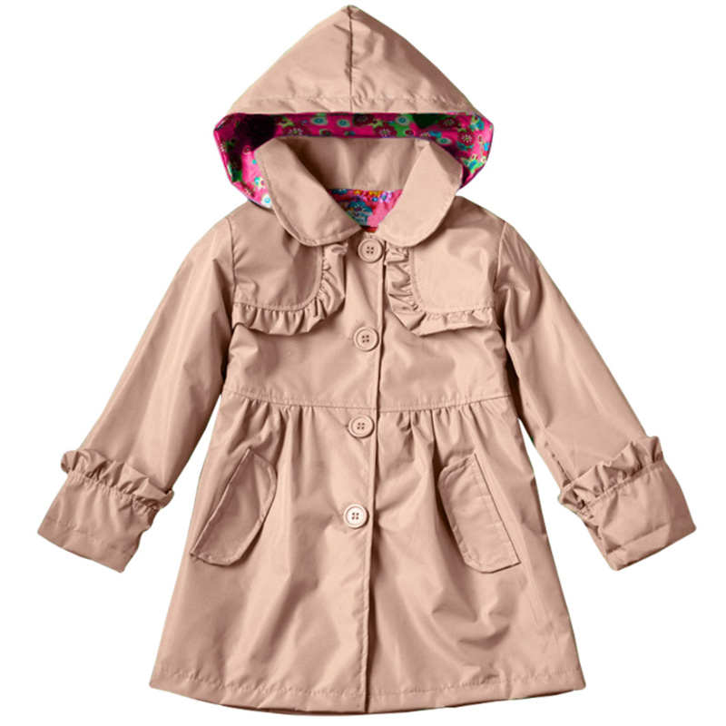 2018 Autumn Winter Girl Coats Clothes Windbreaker Jackets For Girs Children Clothing Kids Jacket Hooded Outerwear 2 6 5 7 Years