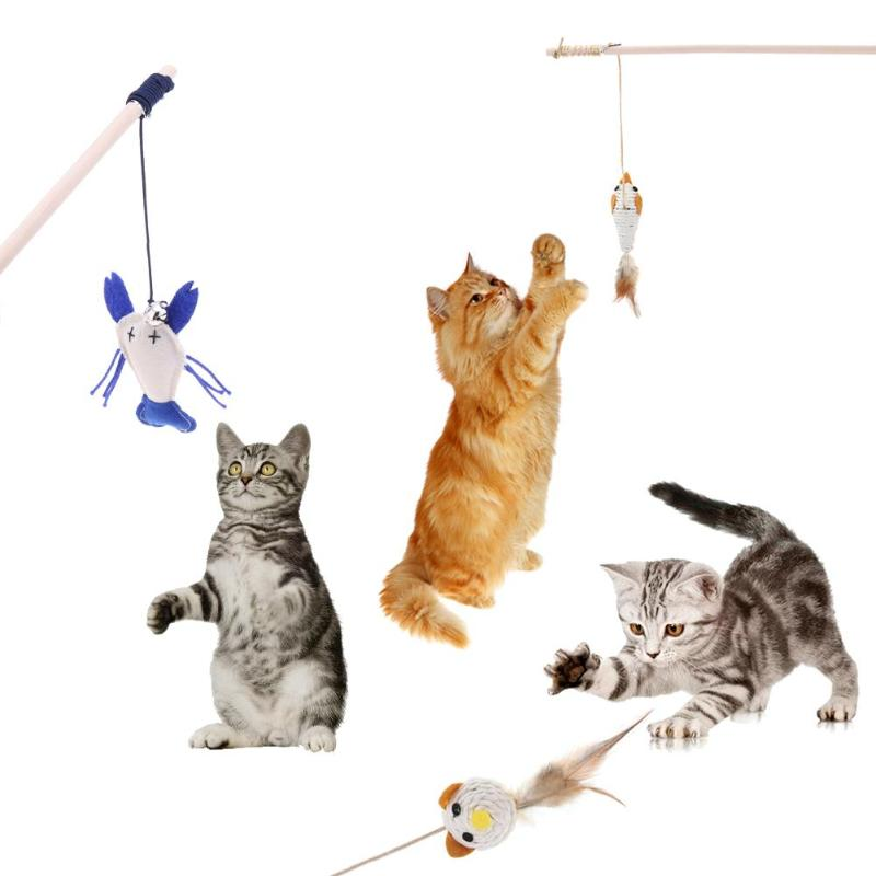 Pet Cat Tease Stick Squeaky Toy With Bells Interactive Toy for Kitten Pet Cat US