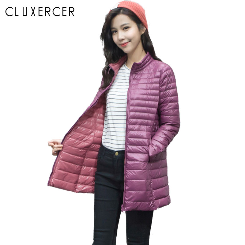 S-4XL Winter Jacket Woman 2018 New Plus Size Long Ultra Light Duck   Down   Jacket Female Slim Pink Winter   Coat   Warm Ladies Clothing