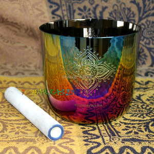 """Image 4 - 4th octave G Throat chakras carved design alchemy crystal singing bowl about 5.5"""""""