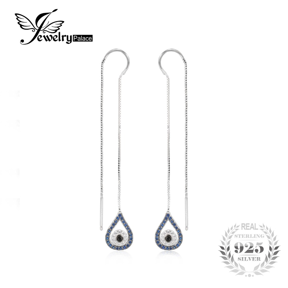 Jewelrypalace 039ct Blue And Black Spinel Threader Earrings 100% 925  Sterling Silver Fine Jewelry