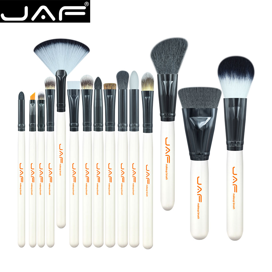 JAF 15-piece Makeup Brush Kit Animal Hair Syntehtic Hair White Handle Conveniently Portable Make Up Brush Set J1503M-W