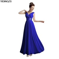 Yidingzs new 2017 double shoulder v neck chiffon solid simple long bridesmaid dresses drop sale.jpg 200x200