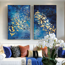 Nordic Light Luxury Abstract Golden Birds Posters and Prints Wall Art Canvas Painting for Living Room Home Decoration No Frame