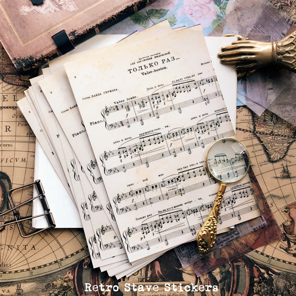 3pcs Vintage Music Render Background Retro Stave Decorative Stickers DIY Junk Journal Scrapbooking Diary Album Stickers Escolar