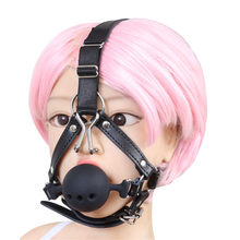 40MM 45MM 50MM Large Silicone Mouth Gag with Nose Hook Harness Bondage Restraints Sex Toys for Couples Big Hollow Gag Ball(China)
