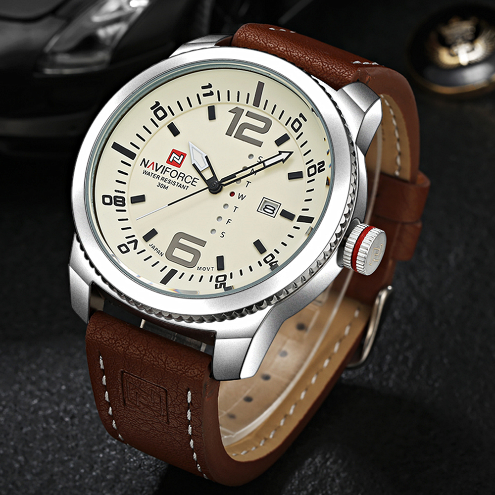 2017 luxury brand naviforce date quartz watch men casual military sports watches leather for Casual watches