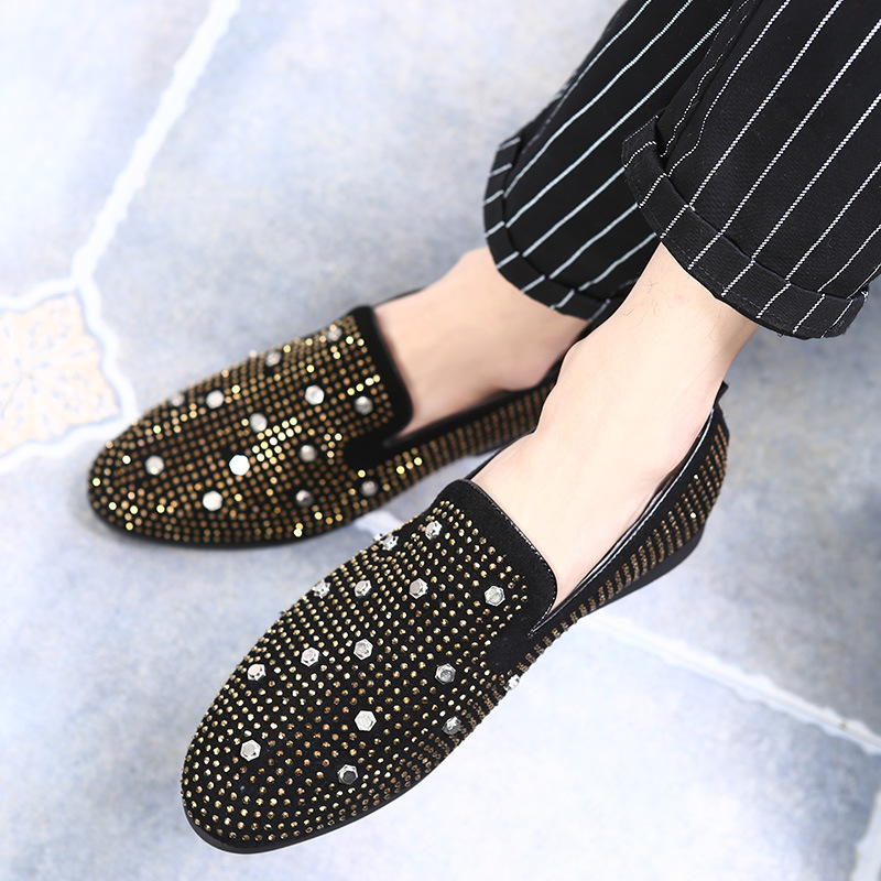 2018 High quality luxury designer loafers men shoes square toe rivet crystal loafers spring shoes rhinestone wedding shoes men