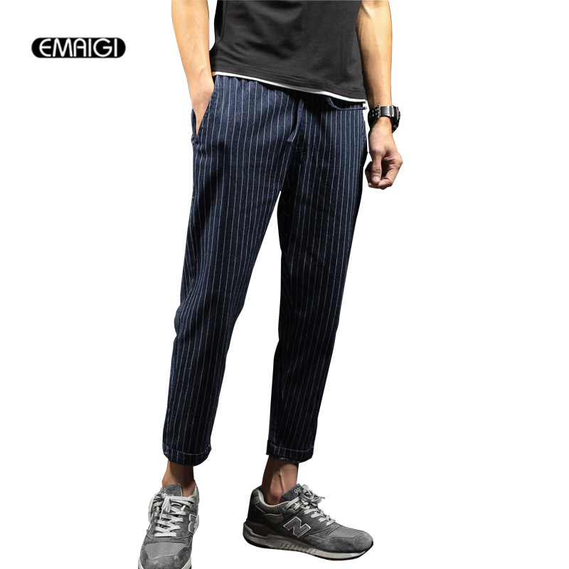 Men Stripes Jeans Male Fashion Hiphop Casual Denim Pant Plus Size M-5XL Mens Jean Trousers large size 29 42 young men jeans hole patchwork denim harem pant male fashion casual denim pant trousers