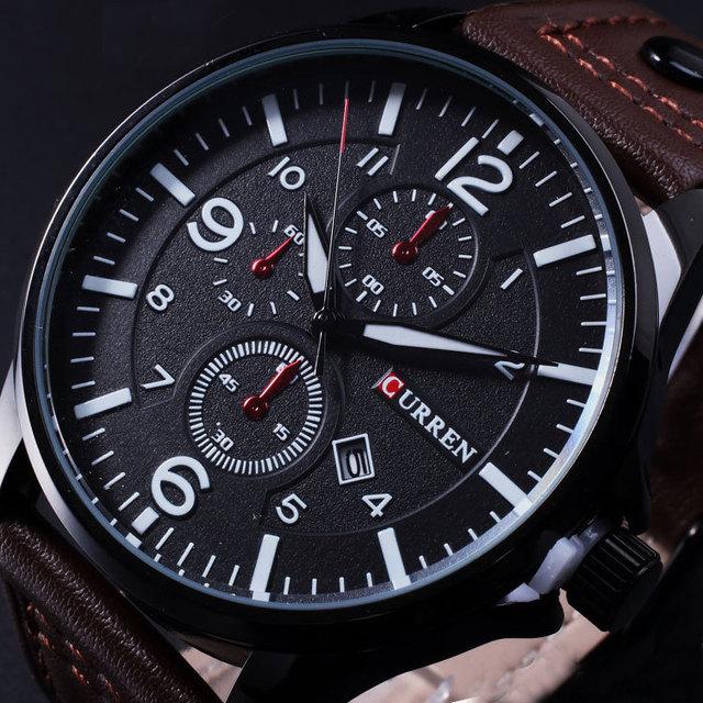 Novo 2017 da marca curren assista men data relógio dos homens dos homens casuais relógio de Quartzo Relógio de Pulso de Couro Sports Relógios Militar Do Exército Relogio masculino